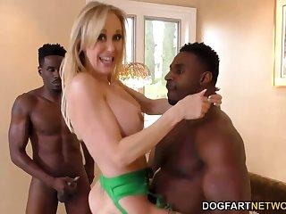 MILF PornStar Brandi Love Engulfs 2 BBCs!