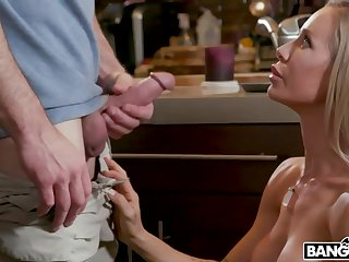 Bare assed housewife Nicole Aniston seduces tutor of her son and fucks him close to the larder